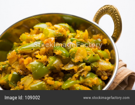 Shimla Mirch sabzi/ Bhaji or Spicy Capsicum dry vegetable recipe