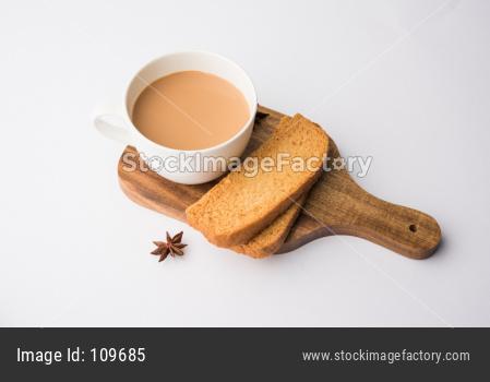 indian punjabi or Delhi bread toast and tea