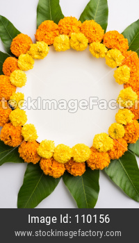 Flower Rangoli for Diwali or Pongal with copy space