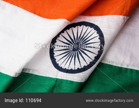 Indian flag with folds over table