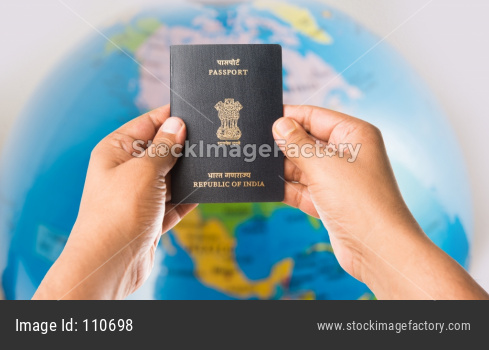 Indian passport with US Dollars and flag