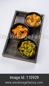 Lemon, Chilli and mango Pickle or Achar