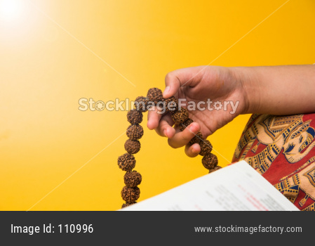 Meditation with rudraksha mala or rosary beads