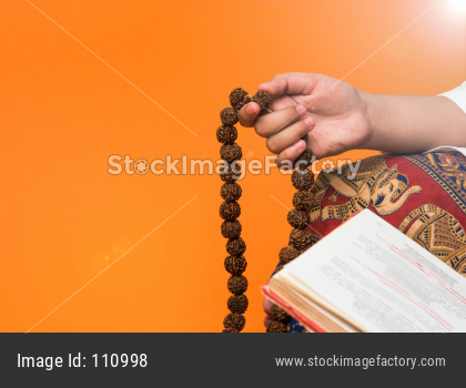 Meditation with rudraksha mala or rosary beads