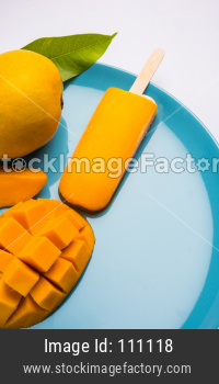 Mango ice candy or ice bar or kulfi