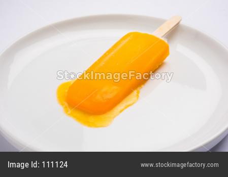 Mango ice candy or ice bar or kulfi