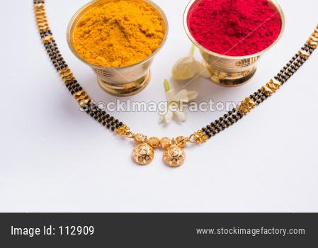 Mangalsutra, huldi kumkum and flowers