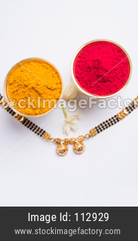Mangalsutra, huldi kumkum and flowers
