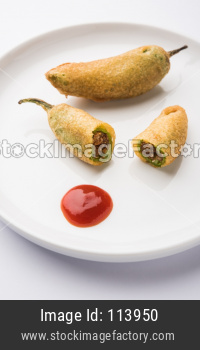 Stuffed Chilli Pakora or mirchi pakoda