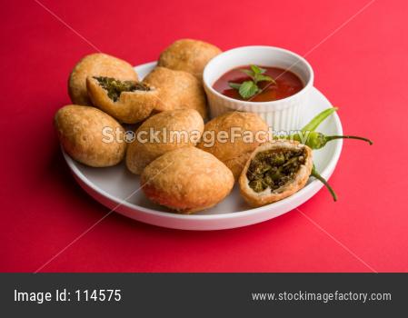 Kachori or Kachauri with matar / green peas