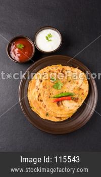 Aloo paratha or potato stuffed flat bread