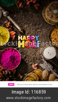 Happy Holi Greeting card showing sweet food and colours