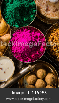 Holi festival sweet food and colours