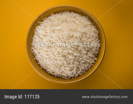 Cooked plain white basmati rice in ceramic bowl
