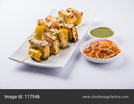 Malai Paneer Tikka Kabab made in Barbeque or tandoor