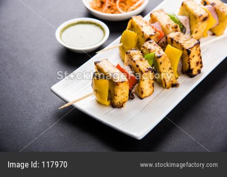 Malai Paneer Tikka Kabab made in Barbeque or tandoor