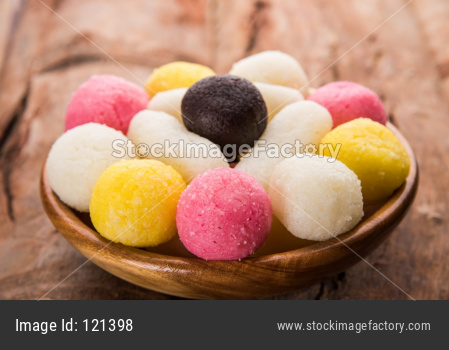 Multicolour dry Rassgulla or Rosogullas and Chamcham and Kala jamun