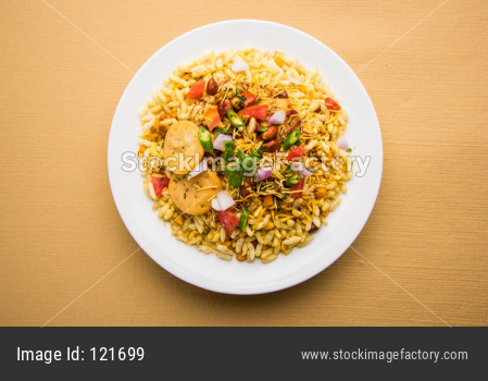 Bhel Puri chat in paper plate
