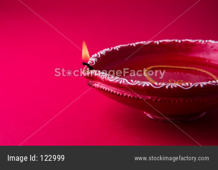 Clay Diya or Oil Lamp lit during Diwali festival