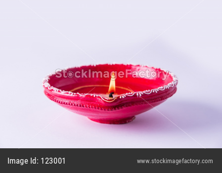 Clay Diya or Oil Lamp lit during Diwali festival