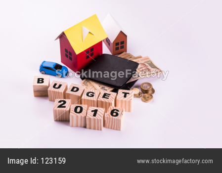 Indian Auto and real estate buying o Finance/Loan Concept showing 3D Car and house model, keys, indian currency notes etc