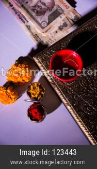 Goddess Laxmi Puja on Diwali with Sweets and Diya