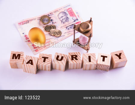 Indian investment concept showing currency notes and gold egg