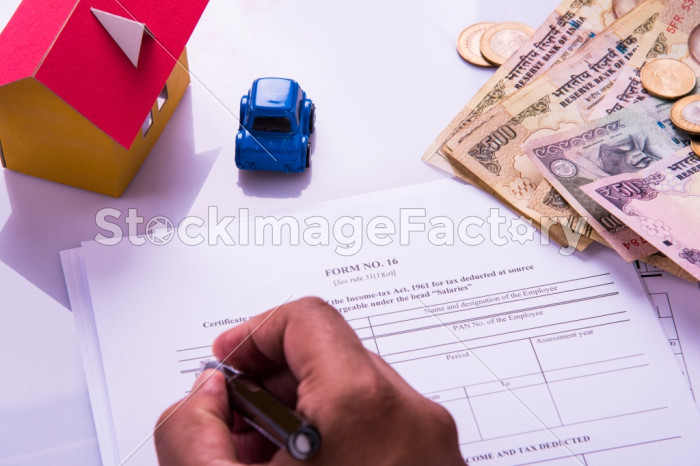 India And Accounting Concept Showing Accountant Working On Income