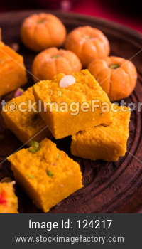 Diwali sweets pedha and burfi and mithai made from milk, dry fruits and fruits
