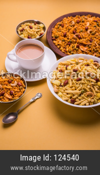 indian famous snack called Farsan or chivada or chakna with hot tea