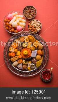 Mix Mithai and diya on diwali