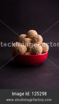 Amaranth or rajgira sweet laddu. selective focus