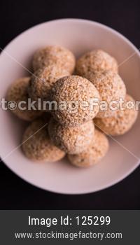 Amaranth or rajgira sweet laddu. selective focus