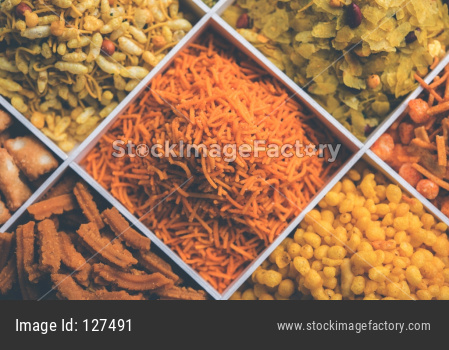Indian Tea-time snacks like sev, chivda, farsan, mixture, boondi, bakarwadi