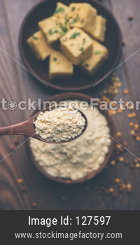Chick pea flour / Besan powder with dhokla snack