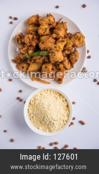 Chick pea flour / Besan powder with onion pakora or kanda bajji