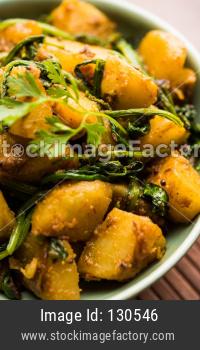 Aloo Palak sabzi / potato spinach sabji