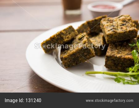Kothimbir Vadi / Cilantro cake