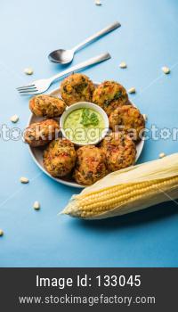 Crispy Corn Tikki, pakora/pakoda