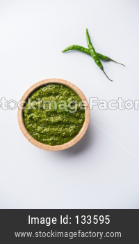 Green Chutney or Sauce made using coriandar or Mint