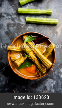 Drumstick Curry or Shevga sheng bhaji or south indian Sambar