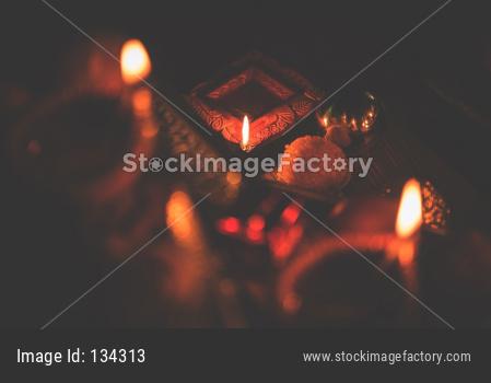 Diwali diya or lighting in the night with gifts