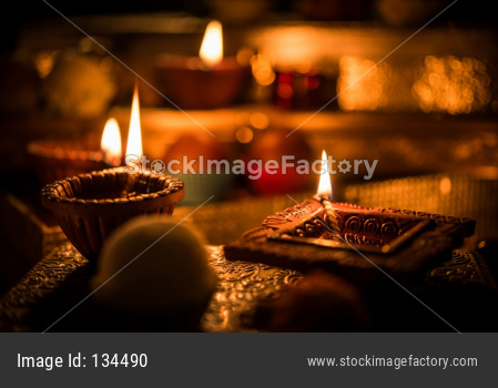 Diwali diya or lighting in the night with gifts