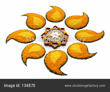 happy Diwali Rangoli made using Diya and flowers