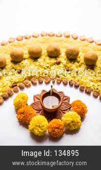 Design strip using diwali diya and food