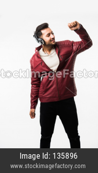 Man listning music with headphones