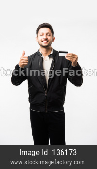 man with credit or debit card