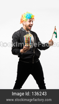 man holding Indian Flag