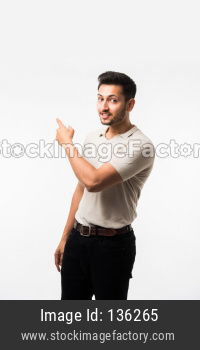 young man pointing something