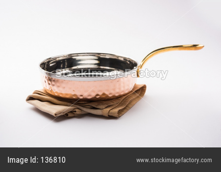 Copper Tarka/Tadka Fry pan with handle also can be used as a stylish serving bowl